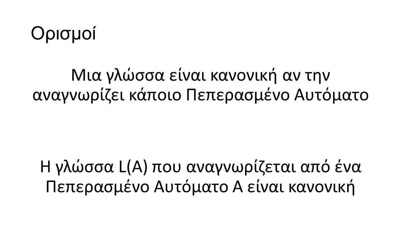 Ορισμοί Μια γλώσσα είναι κανονική αν την αναγνωρίζει κάποιο Πεπερασμένο Αυτόματο Η γλώσσα L(A) που αναγνωρίζεται από ένα Πεπερασμένο Αυτόματο Α είναι κανονική