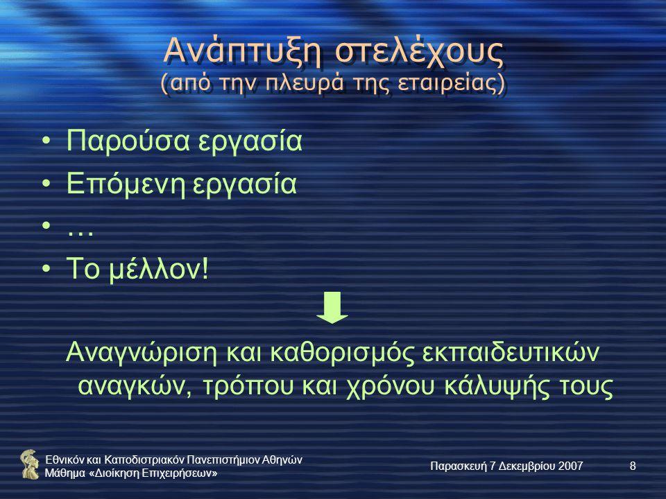 Εθνικόν και Καποδιστριακόν Πανεπιστήμιον Αθηνών Μάθημα «Διοίκηση Επιχειρήσεων» Παρασκευή 7 Δεκεμβρίου 20078 Ανάπτυξη στελέχους (από την πλευρά της εταιρείας) Παρούσα εργασία Επόμενη εργασία … Το μέλλον.