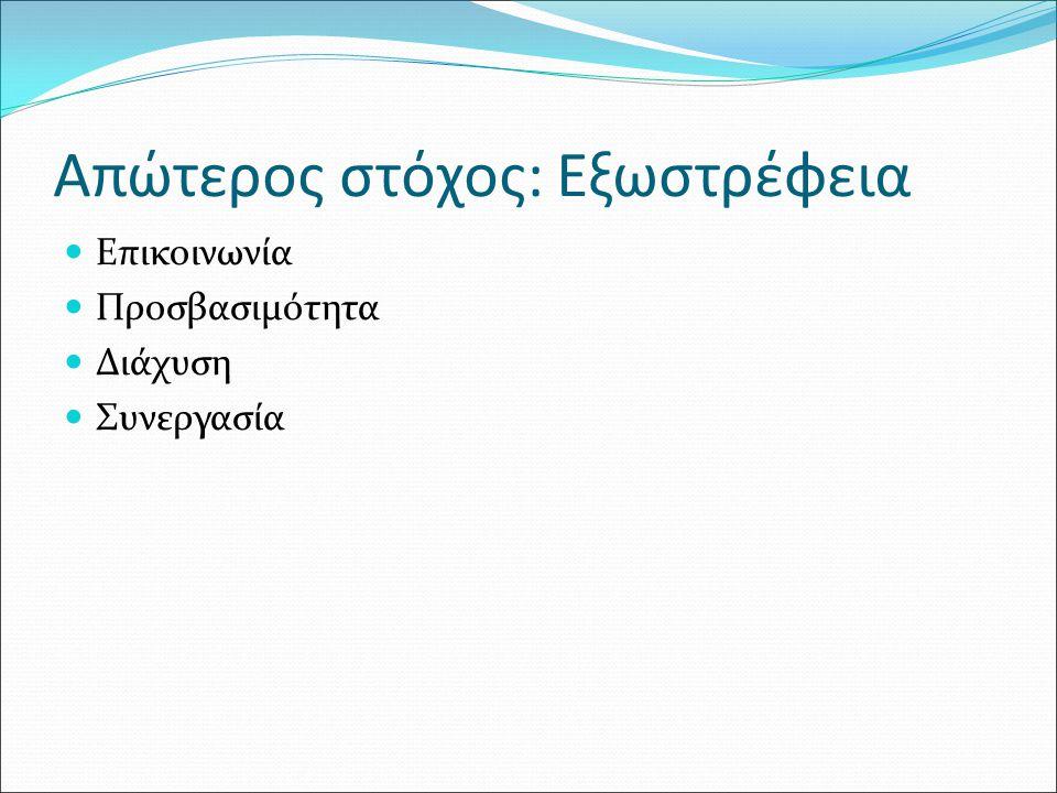 Απώτερος στόχος: Εξωστρέφεια Επικοινωνία Προσβασιμότητα Διάχυση Συνεργασία