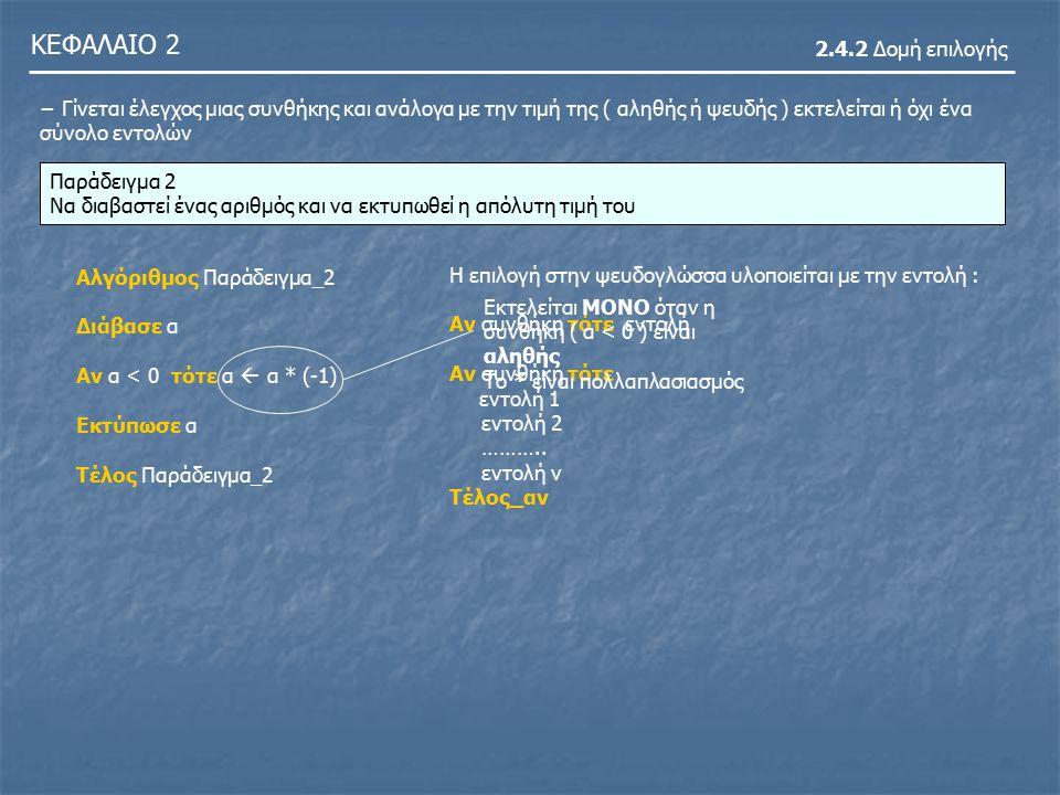 ΚΕΦΑΛΑΙΟ 2 2.4.2 Δομή επιλογής Παράδειγμα 3 Να διαβαστούν δύο αριθμοί και σε περίπτωση που ο πρώτος αριθμός είναι μικρότερος του δεύτερου, να υπολογιστεί και να εκτυπωθεί το άθροισμά τους, διαφορετικά να υπολογιστεί και να εκτυπωθεί το γινόμενό τους.
