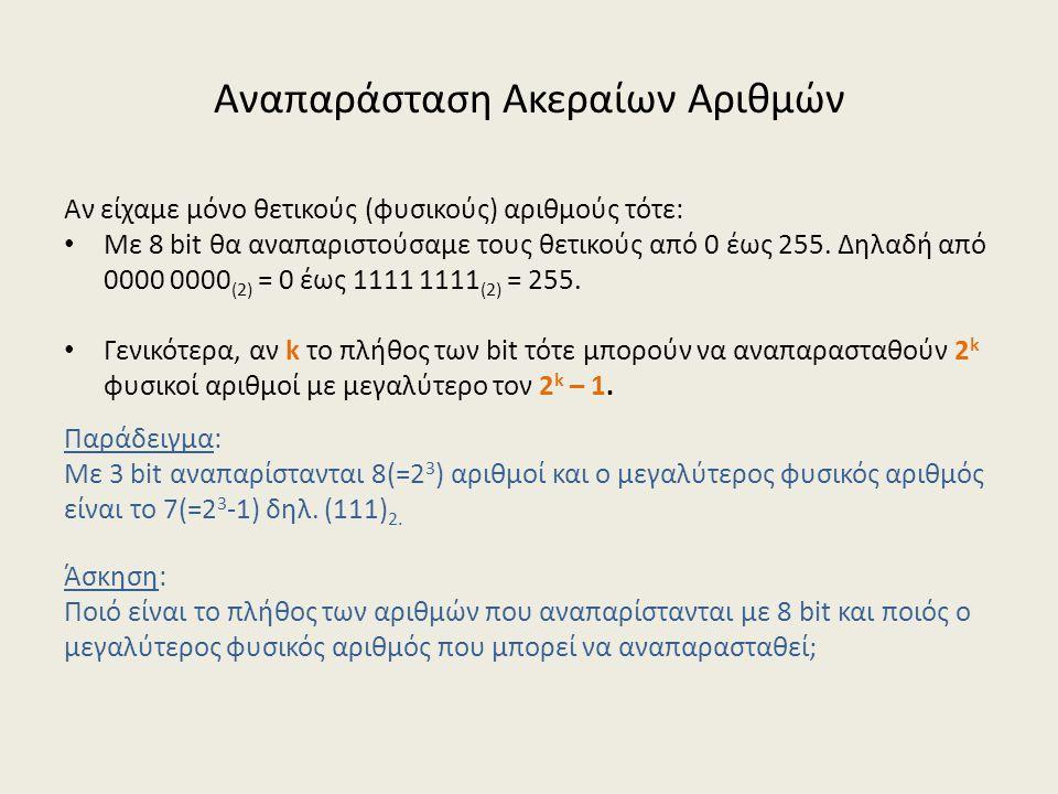 Αναπαράσταση Ακεραίων Αριθμών Αν είχαμε μόνο θετικούς (φυσικούς) αριθμούς τότε: Με 8 bit θα αναπαριστούσαμε τους θετικούς από 0 έως 255.