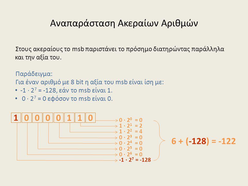 Αναπαράσταση Ακεραίων Αριθμών Στους ακεραίους το msb παριστάνει το πρόσημο διατηρώντας παράλληλα και την αξία του.