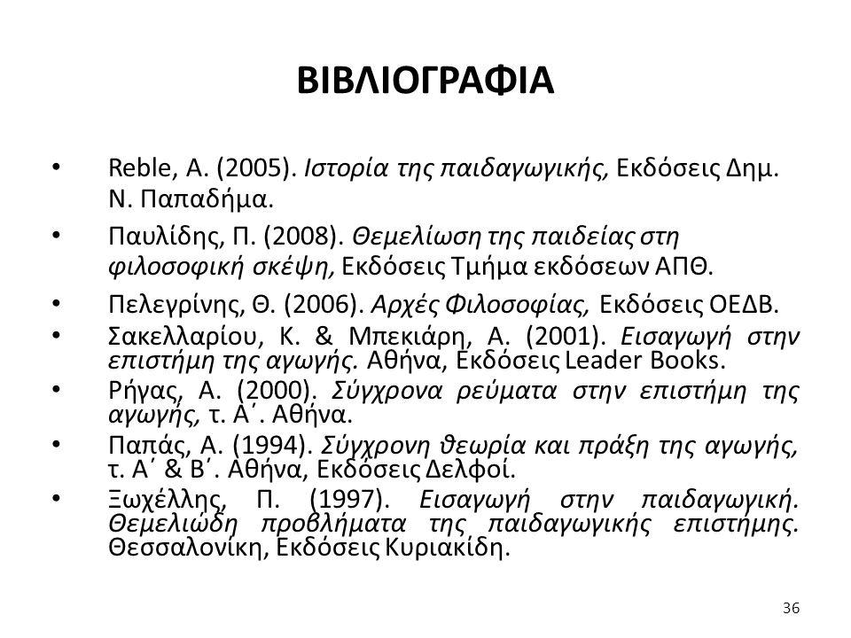 ΒΙΒΛΙΟΓΡΑΦΙΑ Reble, Α.(2005). Ιστορία της παιδαγωγικής, Εκδόσεις Δημ.