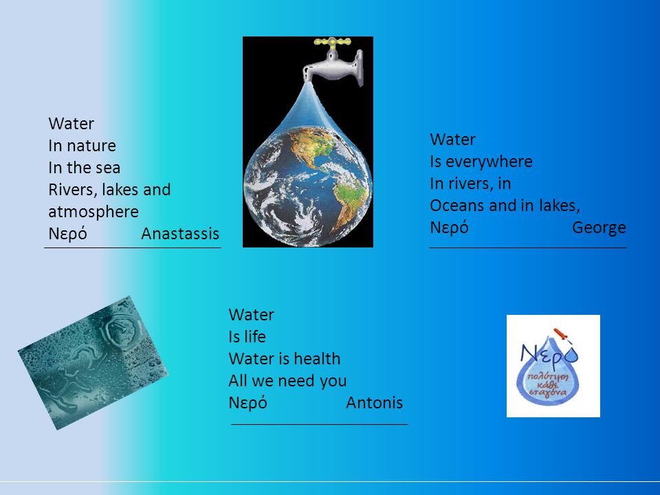 Water In nature In the sea Rivers, lakes and atmosphere Νερό Anastassis Water Is life Water is health All we need you Νερό Αntonis Water Is everywhere In rivers, in Oceans and in lakes, Νερό George