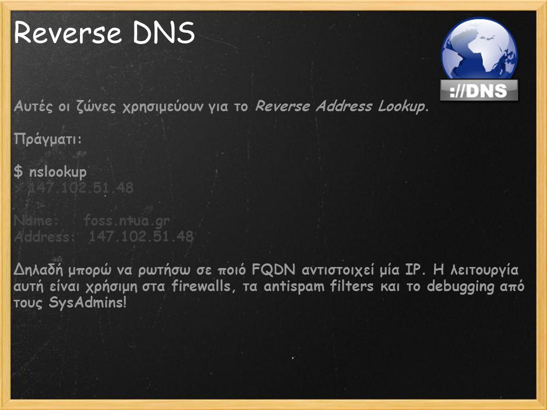 Reverse DNS Αυτές οι ζώνες χρησιμεύουν για το Reverse Address Lookup. Πράγματι: $ nslookup > 147.102.51.48 Name: foss.ntua.gr Address: 147.102.51.48 Δ