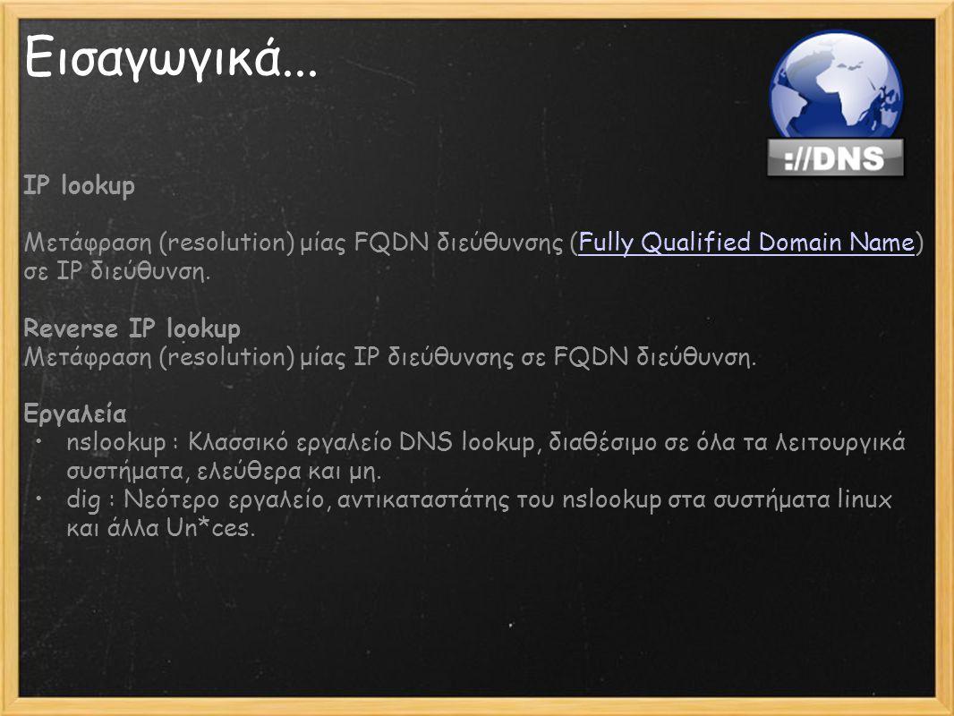 Εισαγωγικά... IP lookup Μετάφραση (resolution) μίας FQDN διεύθυνσης (Fully Qualified Domain Name) σε IP διεύθυνση.Fully Qualified Domain Name Reverse