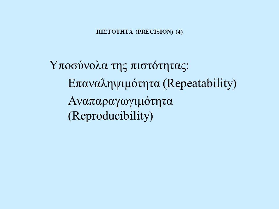 ΠΙΣΤΟΤΗΤΑ (PRECISION) (4) Υποσύνολα της πιστότητας: Επαναληψιμότητα (Repeatability) Αναπαραγωγιμότητα (Reproducibility)