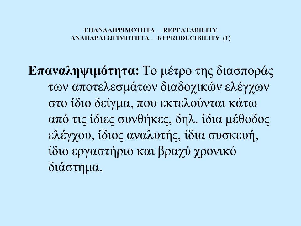 ΕΠΑΝΑΛΗΨΙΜΟΤΗΤΑ – REPEATABILITY ΑΝΑΠΑΡΑΓΩΓΙΜΟΤΗΤΑ – REPRODUCIBILITY (1) Επαναληψιμότητα: Το μέτρο της διασποράς των αποτελεσμάτων διαδοχικών ελέγχων στο ίδιο δείγμα, που εκτελούνται κάτω από τις ίδιες συνθήκες, δηλ.