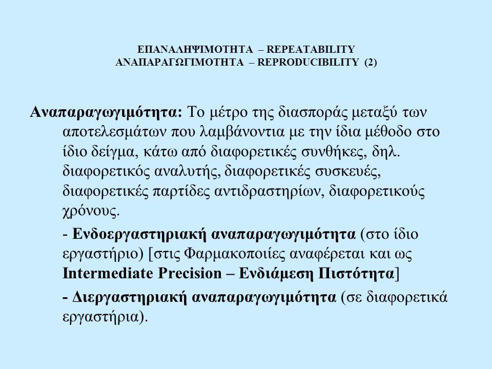 ΕΠΑΝΑΛΗΨΙΜΟΤΗΤΑ – REPEATABILITY ΑΝΑΠΑΡΑΓΩΓΙΜΟΤΗΤΑ – REPRODUCIBILITY (2) Αναπαραγωγιμότητα: Το μέτρο της διασποράς μεταξύ των αποτελεσμάτων που λαμβάνοντια με την ίδια μέθοδο στο ίδιο δείγμα, κάτω από διαφορετικές συνθήκες, δηλ.