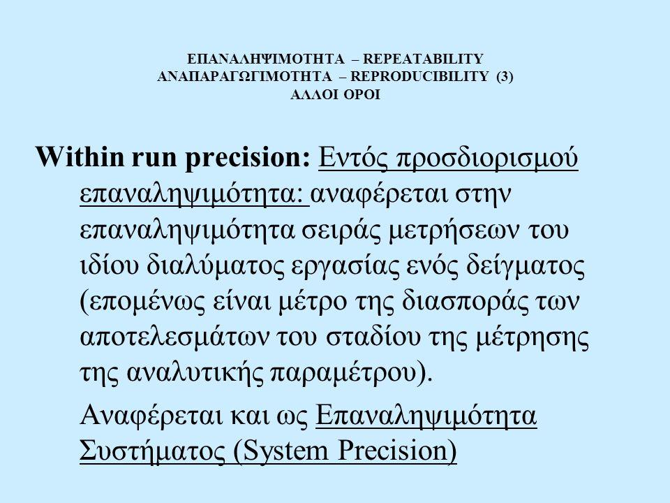 ΕΠΑΝΑΛΗΨΙΜΟΤΗΤΑ – REPEATABILITY ΑΝΑΠΑΡΑΓΩΓΙΜΟΤΗΤΑ – REPRODUCIBILITY (3) ΑΛΛΟΙ ΟΡΟΙ Within run precision: Εντός προσδιορισμού επαναληψιμότητα: αναφέρεται στην επαναληψιμότητα σειράς μετρήσεων του ιδίου διαλύματος εργασίας ενός δείγματος (επομένως είναι μέτρο της διασποράς των αποτελεσμάτων του σταδίου της μέτρησης της αναλυτικής παραμέτρου).