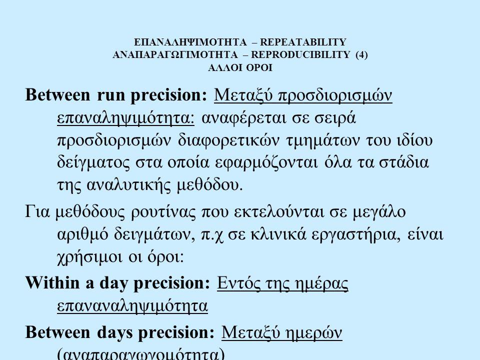 ΕΠΑΝΑΛΗΨΙΜΟΤΗΤΑ – REPEATABILITY ΑΝΑΠΑΡΑΓΩΓΙΜΟΤΗΤΑ – REPRODUCIBILITY (4) ΑΛΛΟΙ ΟΡΟΙ Between run precision: Μεταξύ προσδιορισμών επαναληψιμότητα: αναφέρεται σε σειρά προσδιορισμών διαφορετικών τμημάτων του ιδίου δείγματος στα οποία εφαρμόζονται όλα τα στάδια της αναλυτικής μεθόδου.