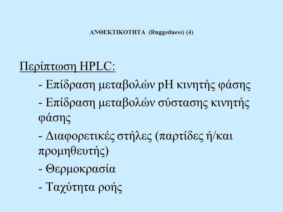 ΑΝΘΕΚΤΙΚΟΤΗΤΑ (Ruggedness) (4) Περίπτωση HPLC: - Επίδραση μεταβολών pH κινητής φάσης - Επίδραση μεταβολών σύστασης κινητής φάσης - Διαφορετικές στήλες (παρτίδες ή/και προμηθευτής) - Θερμοκρασία - Ταχύτητα ροής