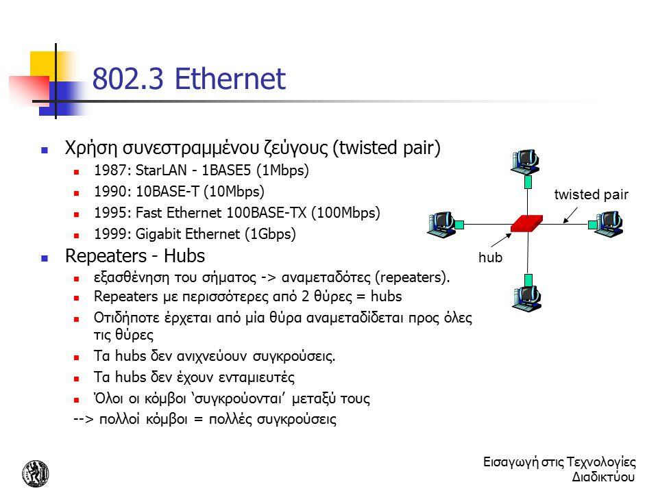 Εισαγωγή στις Τεχνολογίες Διαδικτύου 802.3 Ethernet Χρήση συνεστραμμένου ζεύγους (twisted pair) 1987: StarLAN - 1BASE5 (1Mbps) 1990: 10BASE-T (10Mbps)
