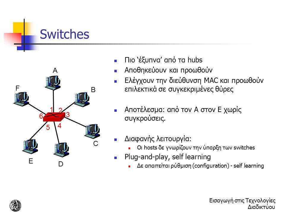 Εισαγωγή στις Τεχνολογίες Διαδικτύου Switches Πιο 'έξυπνα' από τα hubs Αποθηκεύουν και προωθούν Ελέγχουν την διεύθυνση MAC και προωθούν επιλεκτικά σε
