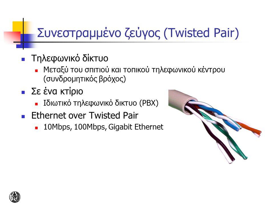 Συνεστραμμένο ζεύγος (Twisted Pair) Τηλεφωνικό δίκτυο Μεταξύ του σπιτιού και τοπικού τηλεφωνικού κέντρου (συνδρομητικός βρόχος) Σε ένα κτίριο Ιδιωτικό