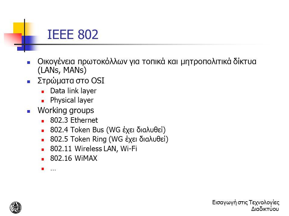 Εισαγωγή στις Τεχνολογίες Διαδικτύου IEEE 802 Οικογένεια πρωτοκόλλων για τοπικά και μητροπολιτικά δίκτυα (LANs, MANs) Στρώματα στο OSI Data link layer