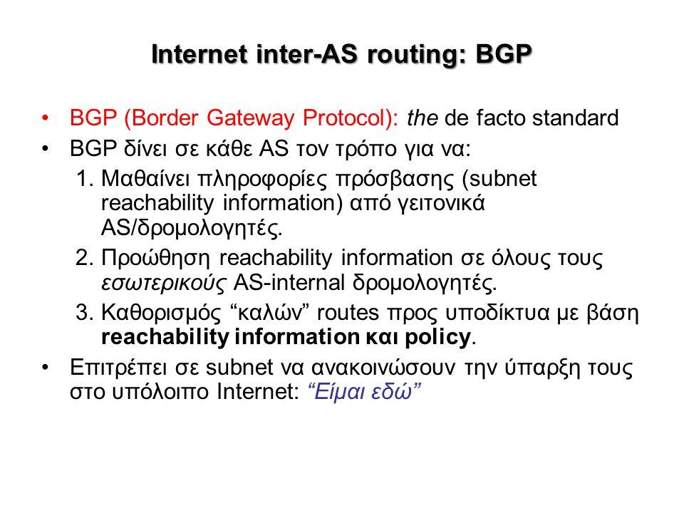 Internet inter-AS routing: BGP BGP (Border Gateway Protocol): the de facto standard BGP δίνει σε κάθε AS τον τρόπο για να: 1.Μαθαίνει πληροφορίες πρόσ