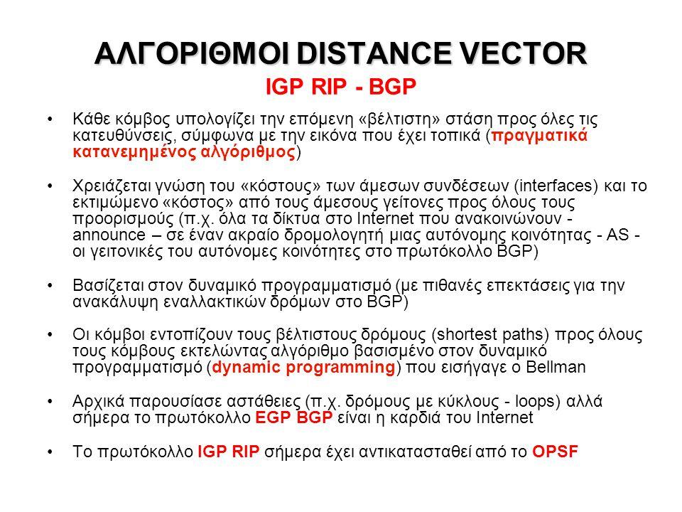ΑΛΓΟΡΙΘΜΟΣ LINK STATE ΑΛΓΟΡΙΘΜΟΣ LINK STATE IGP OSPF Κάθε δρομολογητής μιας περιοχής OSPF (core area) έχει πλήρη εικόνα της περιοχής του – τοπολογία, κόστη συνδέσεων Όλοι οι δρομολογητές εκτελούν τον αλγόριθμο Dijkstra για εντοπισμό όλων των δρόμων ελαχίστου κόστους (shortest paths) σε ρόλο κεντρικού συστήματος ελέγχου, περιοδικά (default 240 sec) ή όποτε αντιληφθούν ότι άλλαξε η κατάσταση του δικτύου – θεωρητικά όλοι έχουν την ίδια εικόνα Θεωρείται ευσταθής αλγόριθμος, επαρκής για IGP: Μια αυτόνομη κοινότητα ιεραρχείται εσωτερικά σε περιοχές OSPF (μία ή περισσότερες) + περιφερειακές stub areas με static routing (στο δίκτυο του ΕΜΠ, OSPF τρέχουν μόνο 2 δρομολογητές) Γενίκευση του OSPF: Αλγόριθμος IS-IS (Intermediate System to Intermediate System)