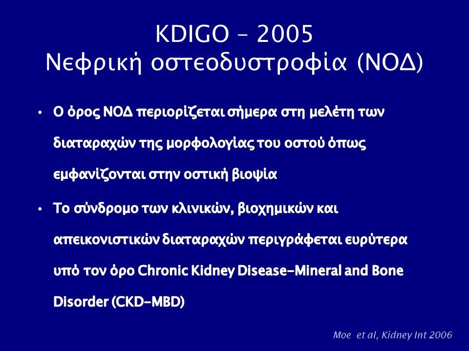 KDIGO – 2005 Νεφρική οστεοδυστροφία (ΝΟΔ) Moe et al, Kidney Int 2006