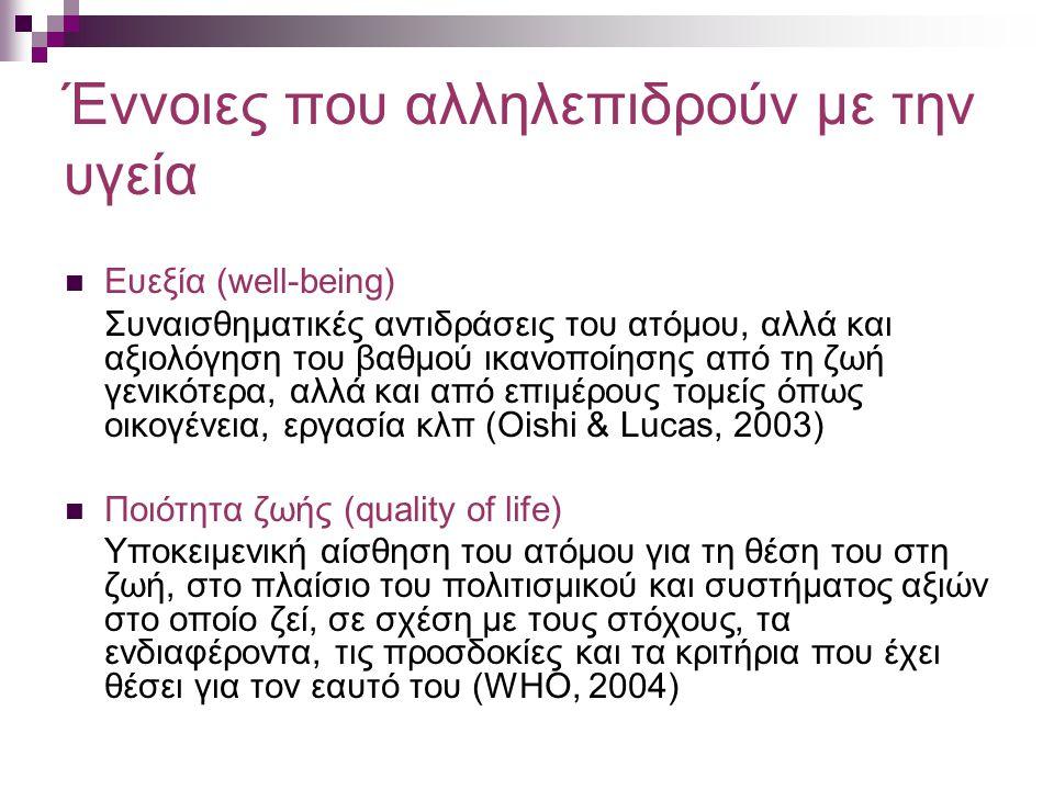 Έννοιες που αλληλεπιδρούν με την υγεία Ευεξία (well-being) Συναισθηματικές αντιδράσεις του ατόμου, αλλά και αξιολόγηση του βαθμού ικανοποίησης από τη ζωή γενικότερα, αλλά και από επιμέρους τομείς όπως οικογένεια, εργασία κλπ (Oishi & Lucas, 2003) Ποιότητα ζωής (quality of life) Υποκειμενική αίσθηση του ατόμου για τη θέση του στη ζωή, στο πλαίσιο του πολιτισμικού και συστήματος αξιών στο οποίο ζεί, σε σχέση με τους στόχους, τα ενδιαφέροντα, τις προσδοκίες και τα κριτήρια που έχει θέσει για τον εαυτό του (WHO, 2004)