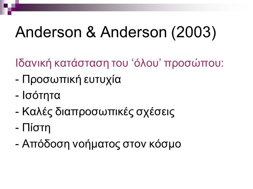 Anderson & Anderson (2003) Ιδανική κατάσταση του 'όλου' προσώπου: - Προσωπική ευτυχία - Ισότητα - Καλές διαπροσωπικές σχέσεις - Πίστη - Απόδοση νοήματ