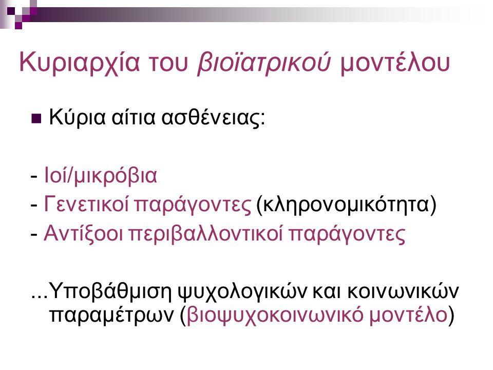 Κυριαρχία του βιοϊατρικού μοντέλου Κύρια αίτια ασθένειας: - Ιοί/μικρόβια - Γενετικοί παράγοντες (κληρονομικότητα) - Αντίξοοι περιβαλλοντικοί παράγοντες...Υποβάθμιση ψυχολογικών και κοινωνικών παραμέτρων (βιοψυχοκοινωνικό μοντέλο)