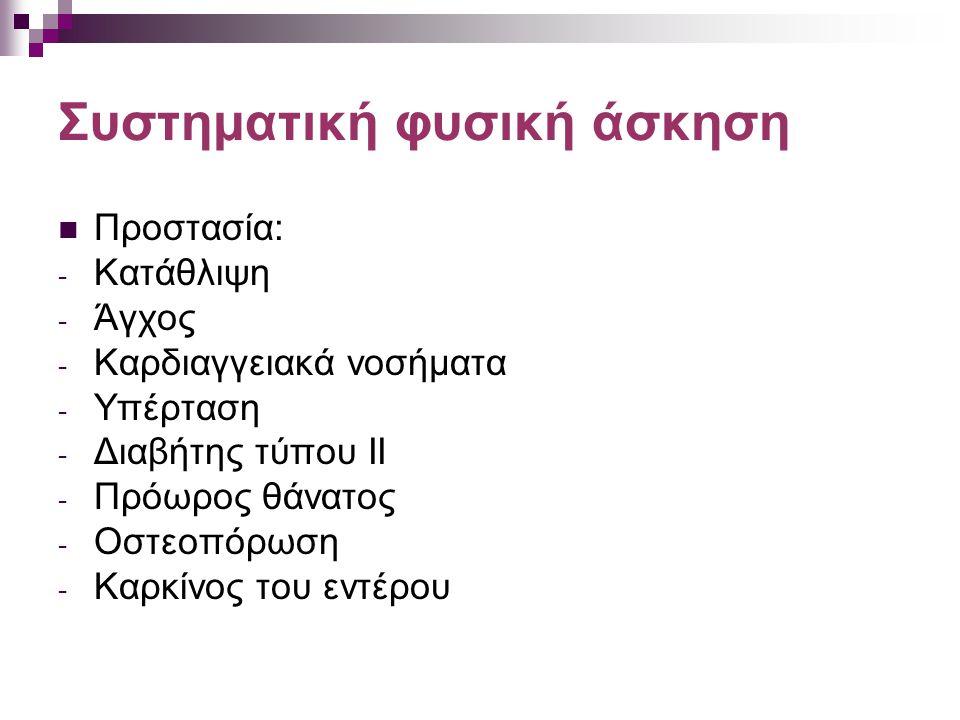 Συστηματική φυσική άσκηση Προστασία: - Κατάθλιψη - Άγχος - Καρδιαγγειακά νοσήματα - Υπέρταση - Διαβήτης τύπου ΙΙ - Πρόωρος θάνατος - Οστεοπόρωση - Καρ