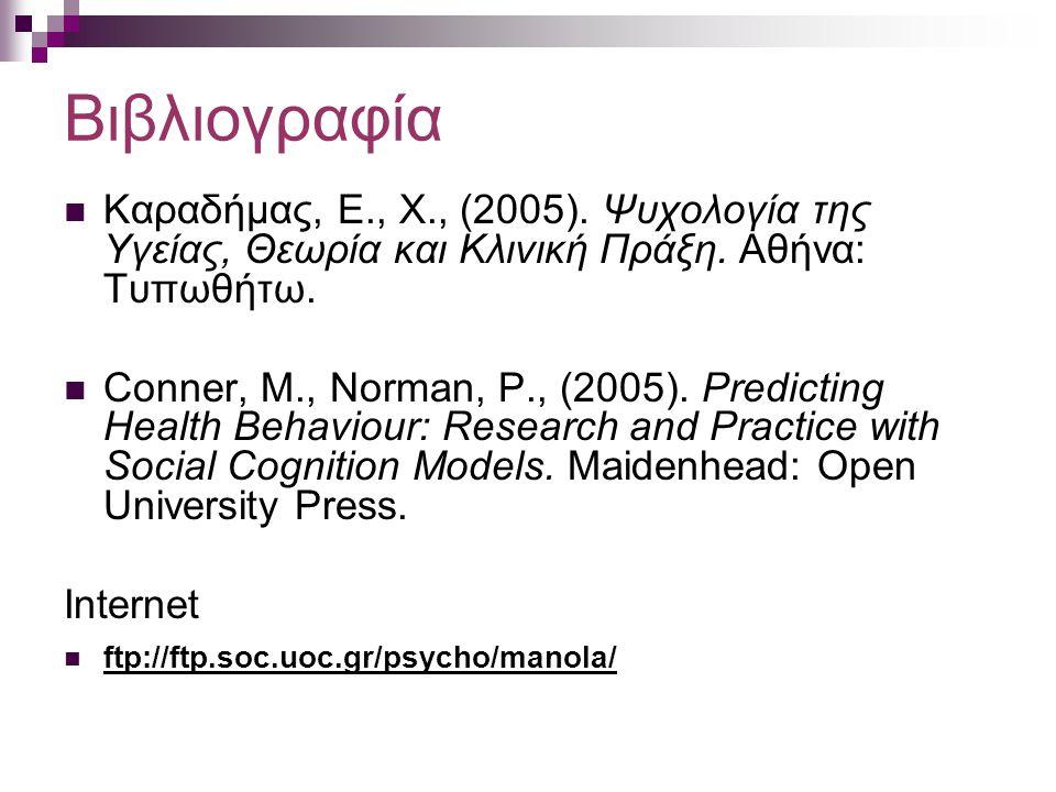 Βιβλιογραφία Καραδήμας, Ε., Χ., (2005). Ψυχολογία της Υγείας, Θεωρία και Κλινική Πράξη. Αθήνα: Τυπωθήτω. Conner, M., Norman, P., (2005). Predicting He
