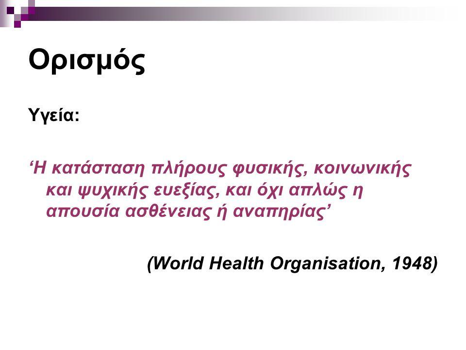 Ορισμός Υγεία: 'Η κατάσταση πλήρους φυσικής, κοινωνικής και ψυχικής ευεξίας, και όχι απλώς η απουσία ασθένειας ή αναπηρίας' (World Health Organisation, 1948)