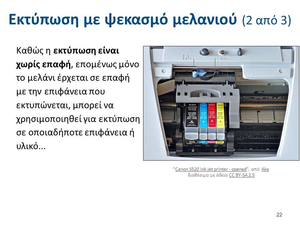 Εκτύπωση με ψεκασμό μελανιού (2 από 3) Καθώς η εκτύπωση είναι χωρίς επαφή, επομένως μόνο το μελάνι έρχεται σε επαφή με την επιφάνεια που εκτυπώνεται,