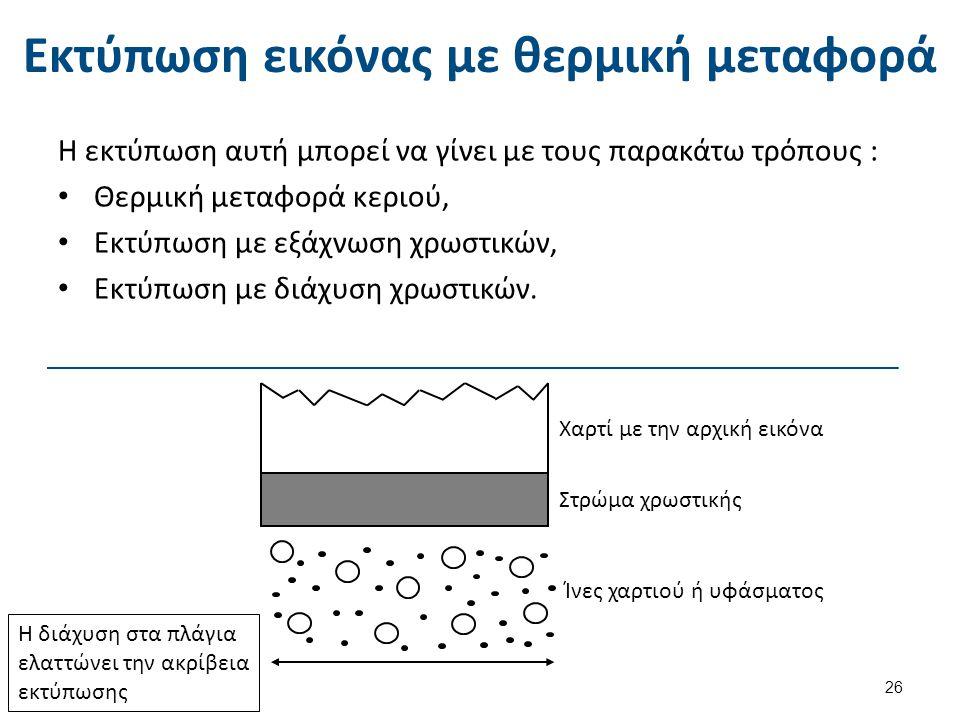 Εκτύπωση εικόνας με θερμική μεταφορά Η εκτύπωση αυτή μπορεί να γίνει με τους παρακάτω τρόπους : Θερμική μεταφορά κεριού, Εκτύπωση με εξάχνωση χρωστικώ