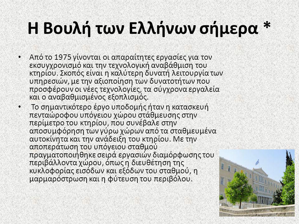 Η Βουλή των Ελλήνων σήμερα * Από το 1975 γίνονται οι απαραίτητες εργασίες για τον εκσυγχρονισμό και την τεχνολογική αναβάθμιση του κτηρίου.