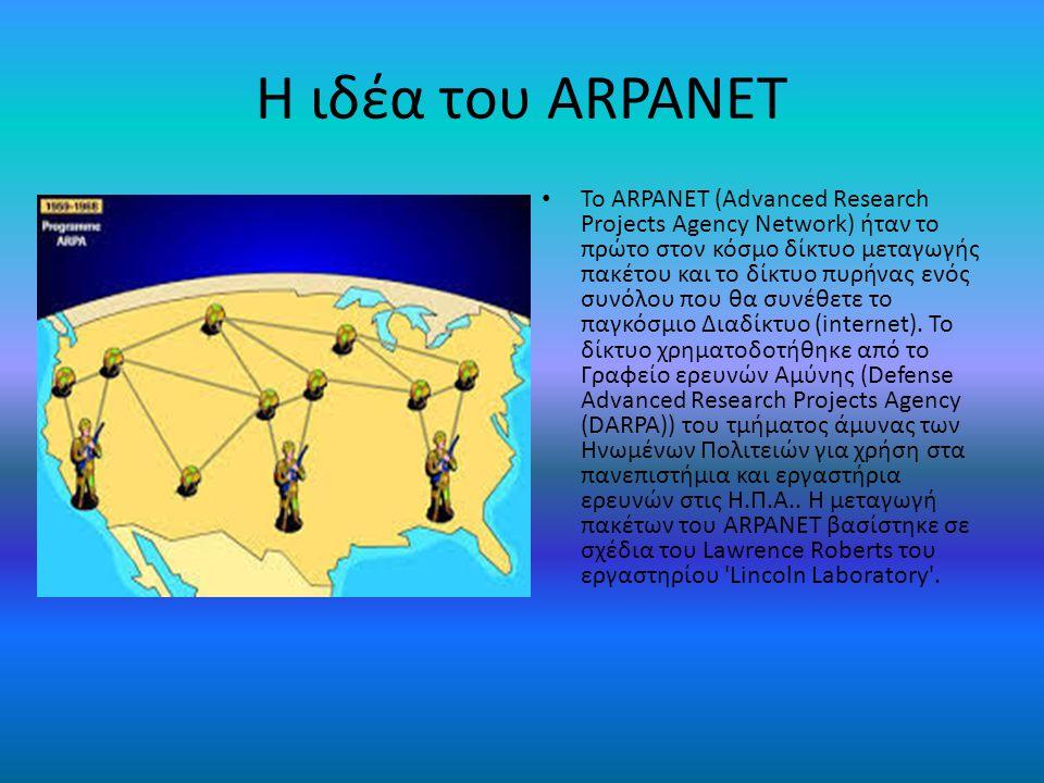 Packet Switching Η μεταγωγή πακέτου (Packet switching), σήμερα η κυρίαρχη βάση για την επικοινωνία δεδομένων παγκοσμίως, ήταν μια νέα αντίληψη την στιγμή της σύλληψης της δημιουργίας του ARPANET.