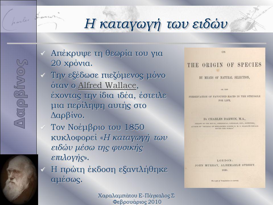 Χαραλαμπάτου Ε-Πάγκαλος Σ Φεβρουάριος 2010 Η καταγωγή των ειδών üΑüΑüΑüΑπέκρυψε τη θεωρία του για 20 χρόνια. üΤüΤüΤüΤην εξέδωσε πιεζόμενος μόνο όταν ο
