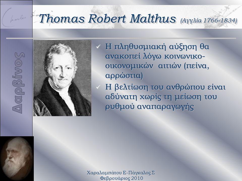 Χαραλαμπάτου Ε-Πάγκαλος Σ Φεβρουάριος 2010 Thomas Robert Malthus (Αγγλία 1766-1834) üΗüΗ πληθυσμιακή αύξηση θα ανακοπεί λόγω κοινωνικο- οικονομικών αιτιών (πείνα, αρρώστια) üHüH βελτίωση του ανθρώπου είναι αδύνατη χωρίς τη μείωση του ρυθμού αναπαραγωγής