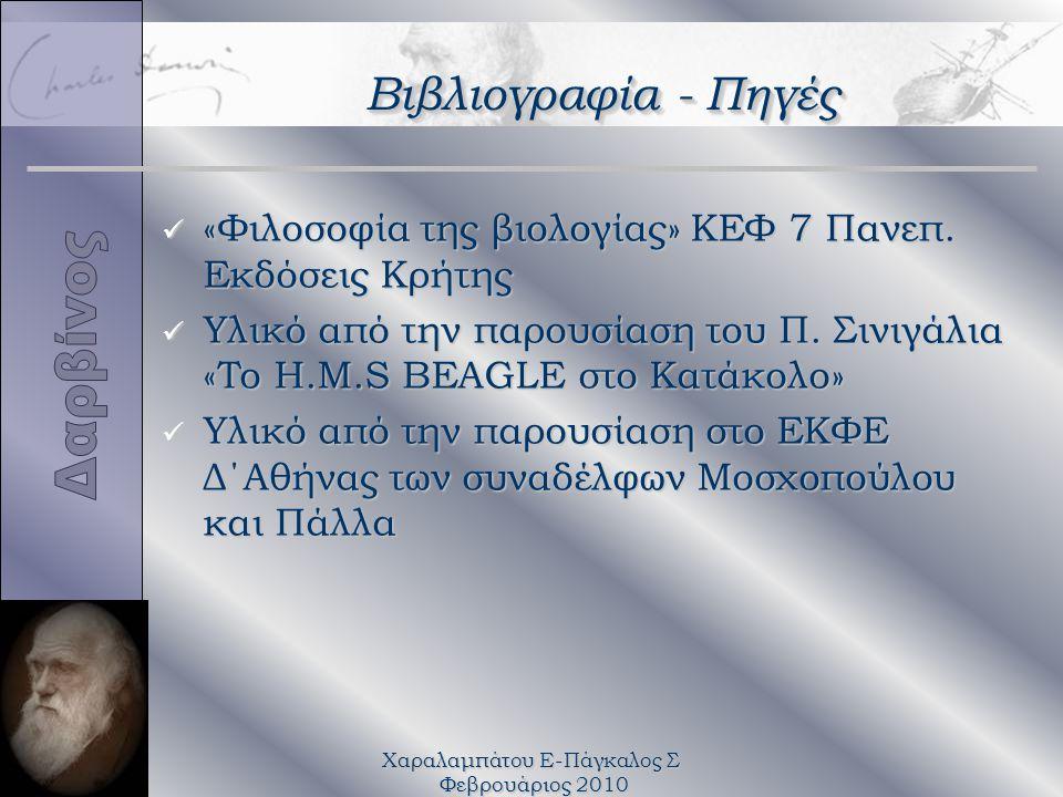 Χαραλαμπάτου Ε-Πάγκαλος Σ Φεβρουάριος 2010 Βιβλιογραφία - Πηγές ü «Φιλοσοφία της βιολογίας» ΚΕΦ 7 Πανεπ. Εκδόσεις Κρήτης ü Υλικό από την παρουσίαση το