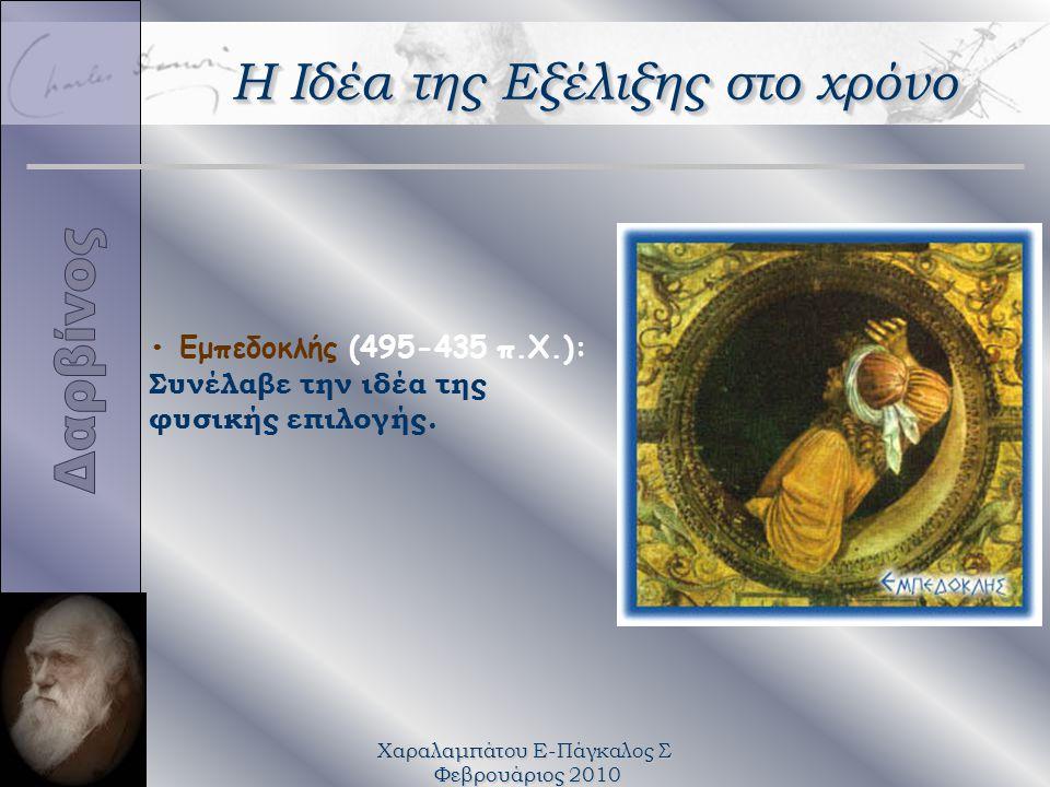 Χαραλαμπάτου Ε-Πάγκαλος Σ Φεβρουάριος 2010 Εμπεδοκλής (495-435 π.Χ.): Συνέλαβε την ιδέα της φυσικής επιλογής. Η Ιδέα της Εξέλιξης στο χρόνο