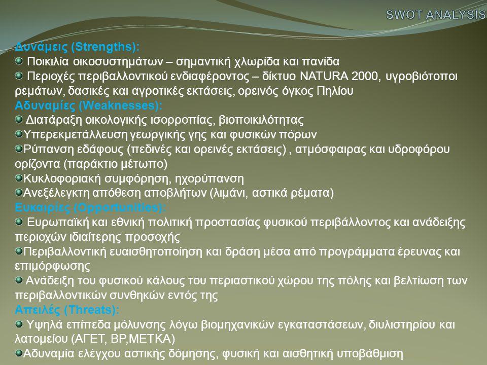 Δυνάμεις (Strengths): Ποικιλία οικοσυστημάτων – σημαντική χλωρίδα και πανίδα Περιοχές περιβαλλοντικού ενδιαφέροντος – δίκτυο NATURA 2000, υγροβιότοποι