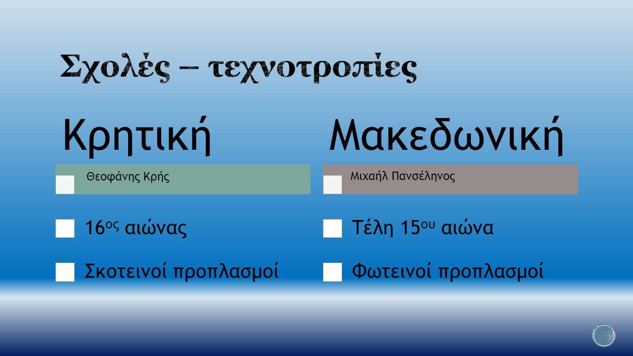 Κρητική 16 ος αιώνας Σκοτεινοί προπλασμοί Μακεδωνική Τέλη 15 ου αιώνα Φωτεινοί προπλασμοί Μιχαήλ Πανσέληνος Θεοφάνης Κρής