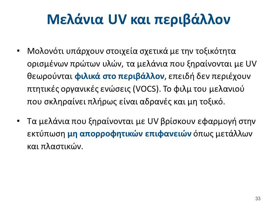 Μελάνια UV και περιβάλλον Μολονότι υπάρχουν στοιχεία σχετικά με την τοξικότητα ορισμένων πρώτων υλών, τα μελάνια που ξηραίνονται με UV θεωρούνται φιλικά στο περιβάλλον, επειδή δεν περιέχουν πτητικές οργανικές ενώσεις (VOCS).