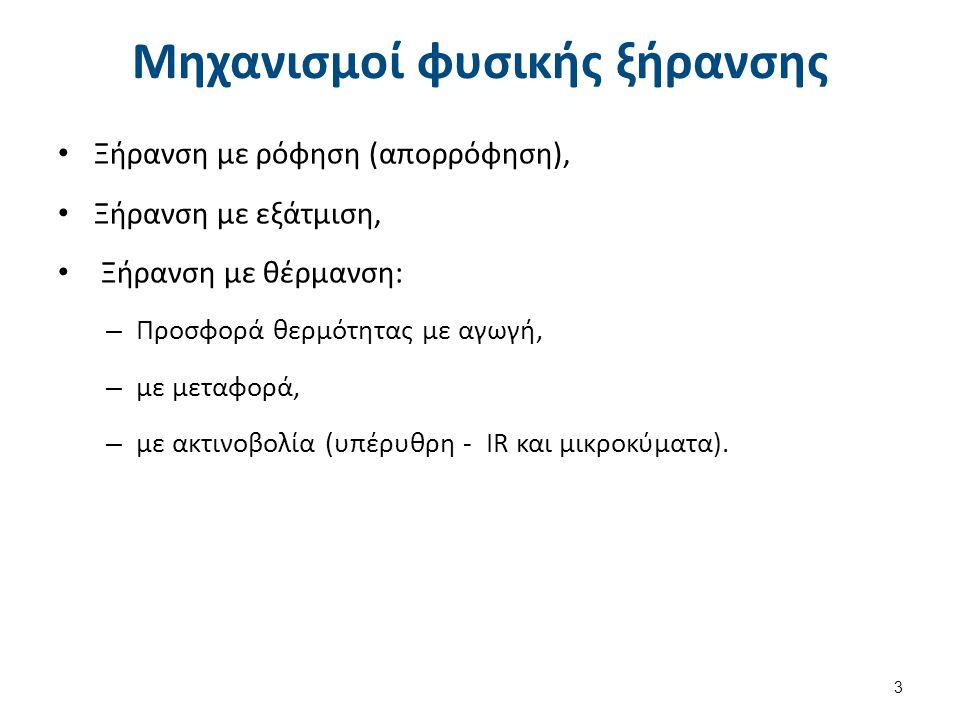 Μηχανισμοί φυσικής ξήρανσης Ξήρανση με ρόφηση (απορρόφηση), Ξήρανση με εξάτμιση, Ξήρανση με θέρμανση: – Προσφορά θερμότητας με αγωγή, – με μεταφορά, – με ακτινοβολία (υπέρυθρη - IR και μικροκύματα).