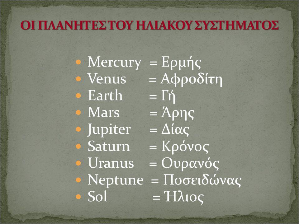 Mercury = Ερμής Venus = Αφροδίτη Earth = Γή Mars = Άρης Jupiter = Δίας Saturn = Κρόνος Uranus = Ουρανός Neptune = Ποσειδώνας Sol = Ήλιος