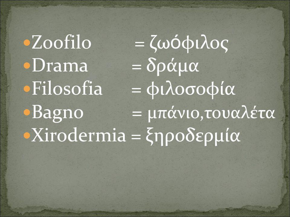 Zoofilo = ζω ό φιλος Drama = δράμα Filosofia = φιλοσοφία Bagno = μπάνιο,τουαλέτα Xirodermia = ξηροδερμία