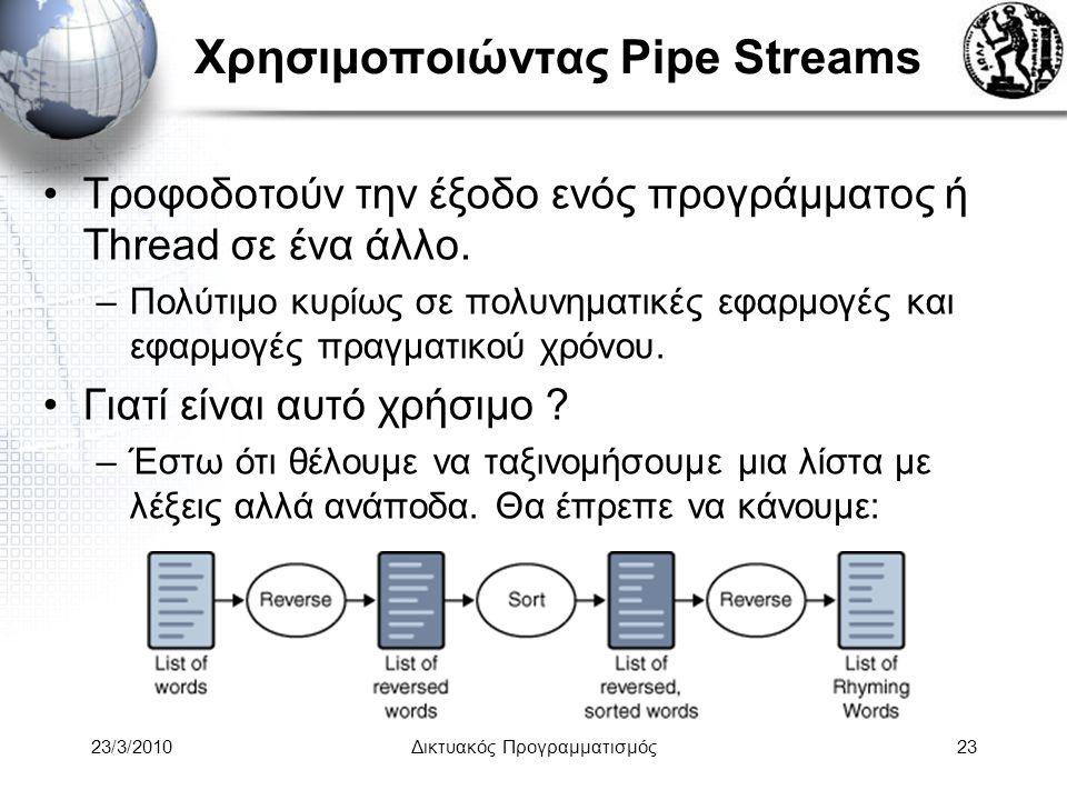 Χρησιμοποιώντας Pipe Streams Τροφοδοτούν την έξοδο ενός προγράμματος ή Thread σε ένα άλλο.