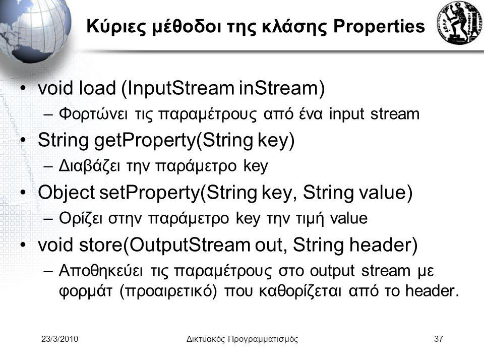 Κύριες μέθοδοι της κλάσης Properties void load (InputStream inStream) –Φορτώνει τις παραμέτρους από ένα input stream String getProperty(String key) –Διαβάζει την παράμετρο key Object setProperty(String key, String value) –Ορίζει στην παράμετρο key την τιμή value void store(OutputStream out, String header) –Αποθηκεύει τις παραμέτρους στο output stream με φορμάτ (προαιρετικό) που καθορίζεται από το header.