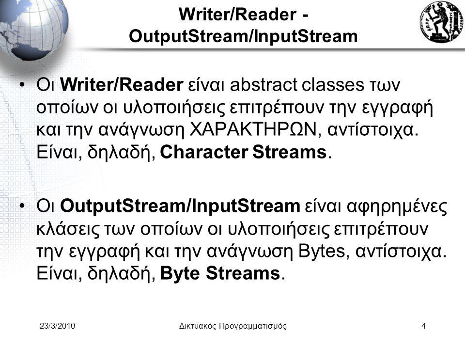 Writer/Reader - OutputStream/InputStream Οι Writer/Reader είναι abstract classes των οποίων οι υλοποιήσεις επιτρέπουν την εγγραφή και την ανάγνωση ΧΑΡΑΚΤΗΡΩΝ, αντίστοιχα.