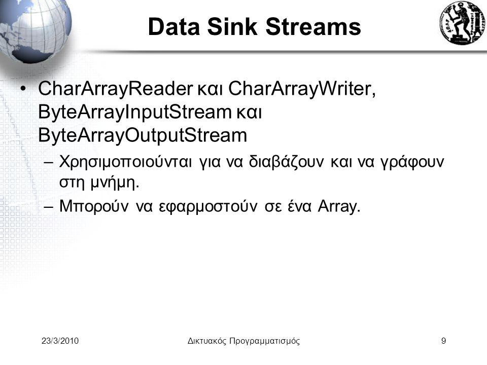 Data Sink Streams CharArrayReader και CharArrayWriter, ByteArrayInputStream και ByteArrayOutputStream –Χρησιμοποιούνται για να διαβάζουν και να γράφουν στη μνήμη.