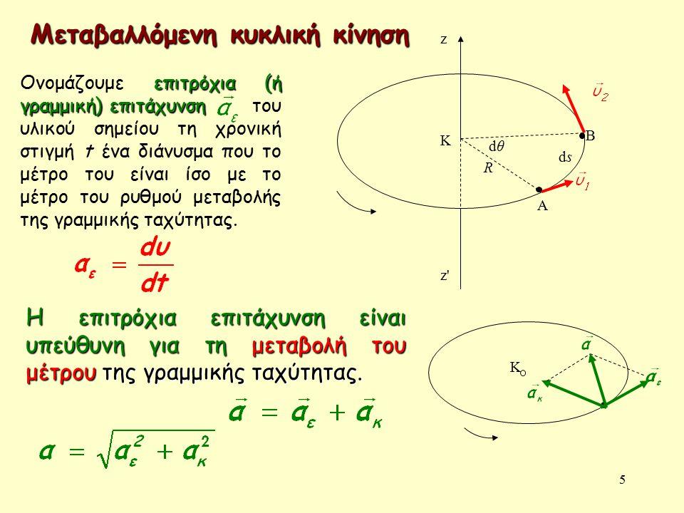 5 R dθdθ dsds A B K z z z Μεταβαλλόμενη κυκλική κίνηση Κ επιτρόχια (ή γραμμική) επιτάχυνση Ονομάζουμε επιτρόχια (ή γραμμική) επιτάχυνση του υλικού σημείου τη χρονική στιγμή t ένα διάνυσμα που το μέτρο του είναι ίσο με το μέτρο του ρυθμού μεταβολής της γραμμικής ταχύτητας.