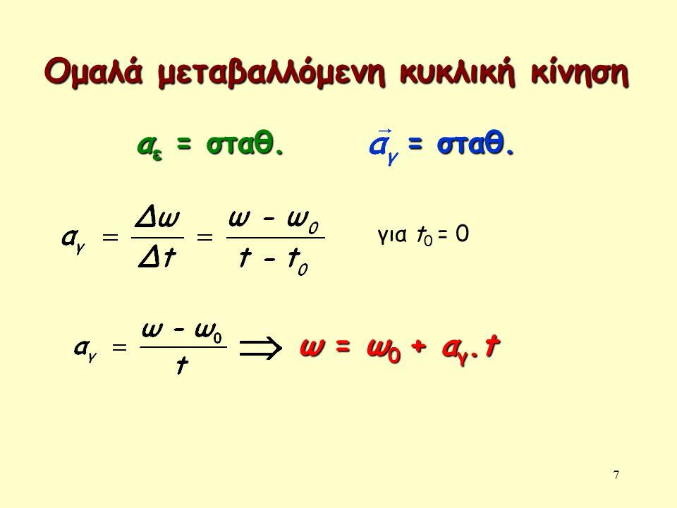 7 Ομαλά μεταβαλλόμενη κυκλική κίνηση α ε = σταθ.= σταθ.