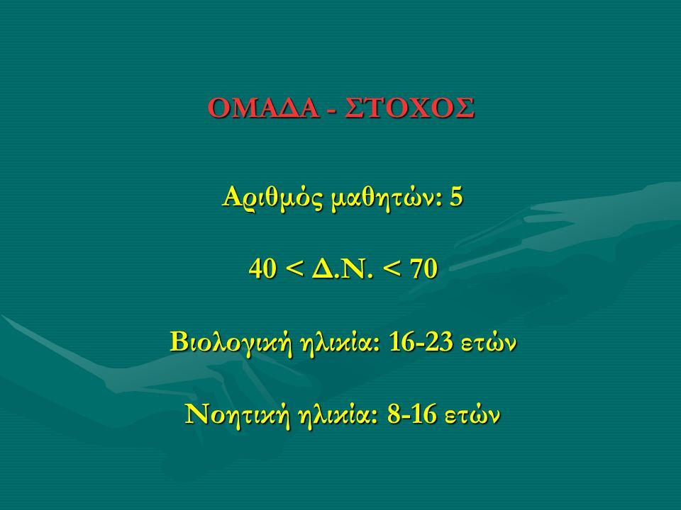 ΟΜΑΔΑ - ΣΤΟΧΟΣ Αριθμός μαθητών: 5 40 < Δ.Ν. < 70 Βιολογική ηλικία: 16-23 ετών Νοητική ηλικία: 8-16 ετών